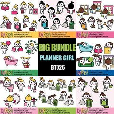 House cleaning planner girl clipart sale bundle, printable planner sticker clip art commercial use, spring clean, to do list task