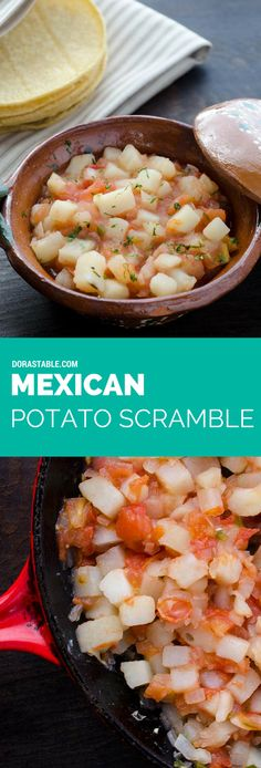 This Mexican Potato Scramble is a spicy, savory and satisfying dish with all the flavors of Mexico. Serve on warm corn tortillas, and if you're brave enough, some hot salsa.