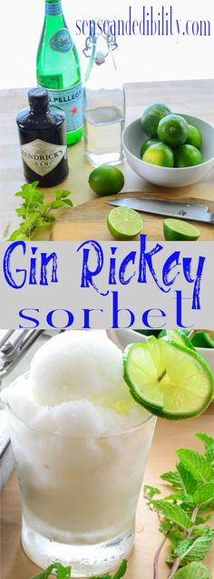 Gin rickey gets a facelift. This boozy sorbet is a refreshing spin on the classic cocktail. It's perfect for Summertime soirees or lazy afternoons.
