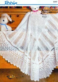 Vintage PDF Knitting Pattern Robin 13497 - 3ply Christening shawl    What a gorgeous border....I love it!