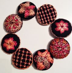 New buttons for my black winter coat. Embroidered on black wool. I lost one button and couldn't find a matching one, so why not make some unique buttons? Mirjam Gielen