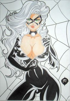 SEXY! BLACK CAT Spider-Man Busty original color sketch pinup by Gil YoungRoland