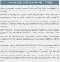 INTJ: red-hot embers, newspapers, dark hair, minimalism, silver chains, crumbling petals, the sound of pouring rain, deja vu, dystopian fiction, bathing in the dark, barbed wire, overgrown lawns, antithetical statements, dry anger, bitter baking chocolate... I love the mental imagery.