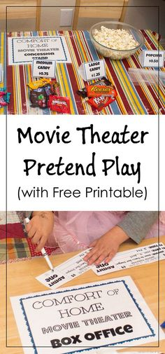 Movie Theater Pretend Play with free printable for tickets, signs, and food labels.