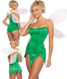green dress bootsflats green material and pom pom wand wings nylons and - Green Halloween Dress