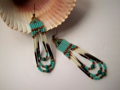 Turquoise Porcupine Quill Earrings by GlowingHeartStudios on Etsy, $17.00