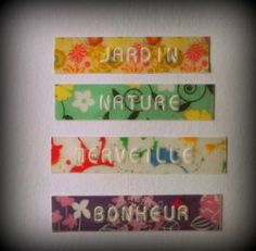 Transparent embossed label tape + washi tape = genius! Create ANY kind of label you like with your Dymo, Motex or other brand tapewriter. Tutorial in French, but if you don't understand French: the pictures say it all. Astuce avec le ruban transparent! - Le Blog Dymomaniak.