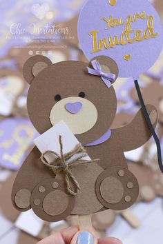 Teddy Invitation Bear Invitation Birthday Custom Birthday Kids Birthday Cards, Handmade Birthday Cards, Baby Birthday, Teddy Bear Party, Teddy Bear Baby Shower, Baby Cards, Kids Cards, Mothers Day Crafts, Crafts For Kids