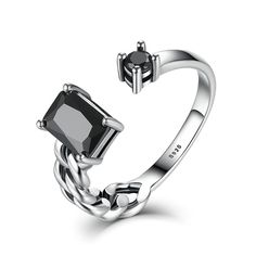 Real 925 Sterling Silver Ring High Quality Black Square Stone Ring Fashion Luxury Adjustable Wedding Ring For Women Fine Jewelry #Affiliate