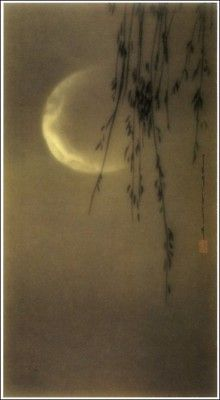 "artemisdreaming: "" Harry Shigeta, ""Fantasy,"" 1923 Larger image: HERE "" Nocturne, Luna Moon, Sun Moon Stars, Art Japonais, Good Night Moon, Moon Magic, Encaustic Art, Beautiful Moon, Japanese Painting"