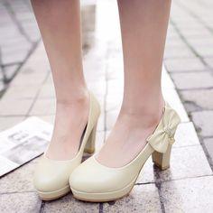 Womens High Heels Platform Chunky Bowknot Round Toe Rhinestones Pu Leather Pumps