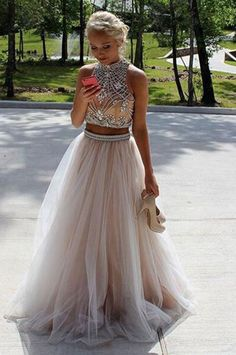 6979f2a65a Light Champagne Two Pieces A-line Tulle Beaded Popular Long Prom Dress