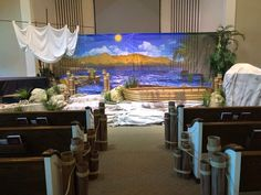 Sea of Miracles VBS- The North Shore New Testament Bible, Miracles Of Jesus, Vbs Themes, Church Stage, Christian Resources, Living Water, Vacation Bible School, Gone Fishing, Stage Design