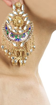 Crystal enamelled chandbali earrings available only at Pernia's Pop-Up Shop.