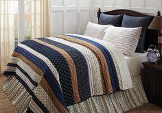 Seapoint Quilted Bedding - Set sail with crisp navy, cream and tan. Seapoint Quilted Bedding features printed stars, compasses and nautical ropes, balanced with woven stripes, cotton shell and fill. King Quilt Sets, King Size Quilt, Queen Quilt, Country Bedding Sets, Cream Bedrooms, Quilt Bedding, Beautiful Bedrooms, Beautiful Beds, Bedding Collections