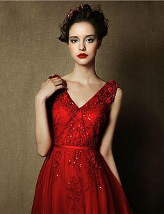 Formal Evening Dress A-line V-neck Floor-length Tulle Dress – USD $ 179.99