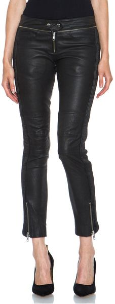ISABEL MARANT Black Kerry Stretch Leather Pant - Lyst