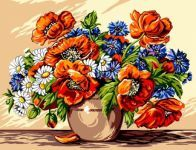 Large poppies, flower bouquet, wall embroidery, Quality Handmade Gobelin, a real knitted artwork - Completed in around 6 months Needlepoint Christmas Stocking Kits, Needlepoint Stockings, Needlepoint Pillows, Needlepoint Patterns, Needlepoint Canvases, Poppy Flower Bouquet, Flower Art, Painted Beds, Color Games