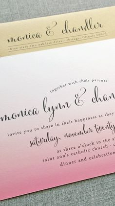 Beautiful font & gorgeous colors on this wedding invitation!
