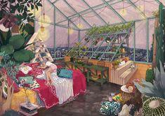 Shop Glass Greenhouse from Mochipanko Art Store in Digital Prints, available on Tictail from in large print postcard size Kunst Inspo, Art Inspo, Anime Gifs, Anime Art, Art And Illustration, Inspiration Artistique, Grafiti, Art Store, Grafik Design