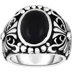 Phillip Gavriel - 9-22mm Oxidized Sterling Silver Men's Ring w/... ($215) ❤ liked on Polyvore featuring men's fashion, men's jewelry, men's rings, mens watches jewelry, mens black onyx ring and mens rings