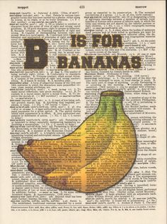 B is for Bananas Vintage Upcycled Book Page by StorybookArtPrints