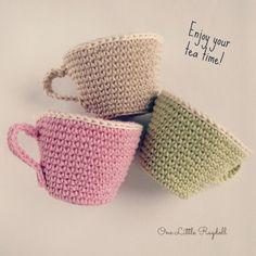 virkattu teekuppi ohje, crochet tea cup free pattern, virkattu kuppi, virkattu muki