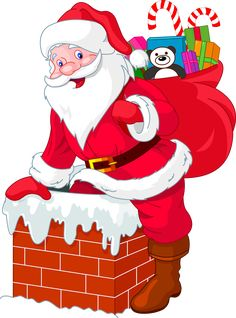 Santa Claus going down the chimney with his bag of presents and candy canes for Christmas Happy Christmas Day, Father Christmas, Christmas Snowman, Christmas Greetings, Christmas Time, Christmas Ornaments, Primitive Christmas, Retro Christmas, Country Christmas