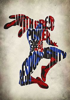 words as primary design element With Great Power Comes Great Responsibility. damn neat artwork of the quote and spiderman blending in together Star Wars Comics, Bd Comics, All Spiderman, Amazing Spiderman, Batman, Spiderman Poster, Superhero Poster, Superhero Classroom, Superman