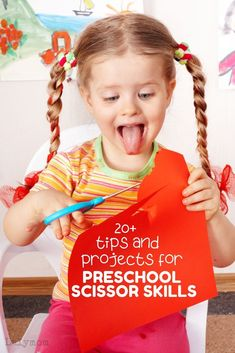 tips and projects for preschool scissor skills - How to teach kids to hold scissors, how to improve their cutting skills and other fun cutting activities for preschoolers and toddlers. Cutting Activities, Fine Motor Activities For Kids, Motor Skills Activities, Preschool Learning Activities, Infant Activities, Toddler Preschool, Learning Resources, Teaching Kids, Kids Learning