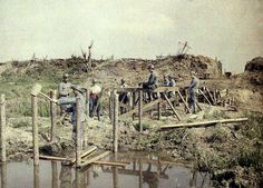 French engineers constructing a bridge Flanders 1917
