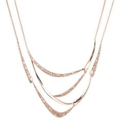 Rose Gold Encrusted Draping Bib Necklace
