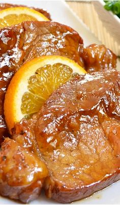 Orange Molasses Pork Chops Recipe ~Tthe easiest pork chops ever. …and the most tender
