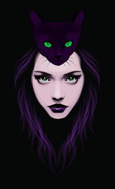 Arte Digital/ilustração Witch Multimedia on Behance Art Et Illustration, Illustrations, Art Pop, Witch Art, Caricatures, Cat Art, Art Girl, Amazing Art, Fantasy Art