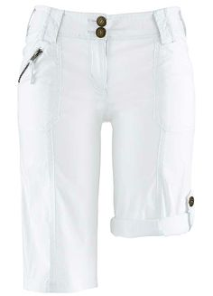 White Regular Rise Bermuda Shorts