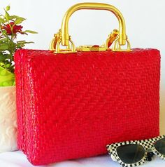 Rockabilly Red Woven Box Purse by normajeanscloset on Etsy, $ 39.99