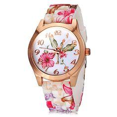 Supergaaf horloge!  http://www.miniinthebox.com/nl/vrouwen-kleurrijke-flower-pattern-siliconen-band-quartz-horloge_p1492699.html