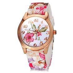 Women's Watch Fashion Colorful Flower Pattern Silicone Band – USD $ 3.99