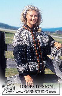 DROPS nordisk genser eller jakke i Karisma med eller uten Bånd. Lang eller Kort Modell. Sokker, Lue, Pannebånd,Votter ~ DROPS Design