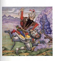 Rostam defeating a jinn, Iranian folk hero...from Shahnameh.