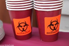 Rx To Party: Graduation party ideas for a college medical graduation. Great for pharmacy, doctors, nurses. Biohazard stickers on paper cups
