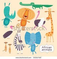 cute animals of africa. childish vector illustration of elephant crocodile lion ostrich giraffe zebra giraffe meerkats vulture and rhino. Crocodile Illustration, Giraffe Illustration, Cute Illustration, Animal Doodles, Animal Posters, African Animals, Nursery Art, Animal Drawings, Cool Artwork