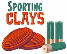 Hopscotch Embroidery Design: Sporting Clays inches H x inches W Sporting Clays, Home On The Range, Hopscotch, Machine Embroidery Designs, Sewing Patterns, Shotguns, Sports, Projects, Hs Sports