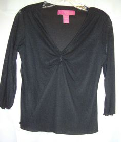 Thalia Sodi Black Nylon 3/4 Sleeve Top Size Medium Deep V Neck  Peep Hole #ThaliaSodi #KnitTop #Career