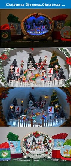 """Christmas Diorama,Christmas Miniature, Christmas Decoration, Centerpiece, Table Decoration, Loading the Sleigh, Ready to Ship!. There is so much going on at the last minute at the North Pole in this holiday miniature diorama. -Durable Paper mache -Lemax figures -Save time and space from putting out an entire village -LED, battery operated lights -Unique, balanced design -Item measures 14"""" X 13"""" X 14"""" -Use shipping box for storage or a toteMake your holiday decor different with this…"""