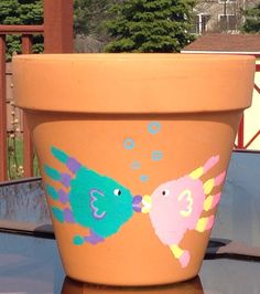 Kids animal handprint fish flower pot - Kids at home craft