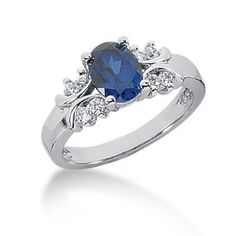 1.25 Ct Diamond Sapphire Ring Engagement Oval cut 14k White Gold