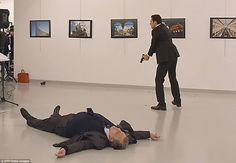 Riot trained policeman Mevlut Mert Altintas,22, shot dead Russian ambassador Andrei Karlov at a gallery opening in Ankara on Monday, 19 December 2016. Altintas was filmed as he blasted the ambassador from behind with his semi-automatic handgun during the launch of a photographic expedition.