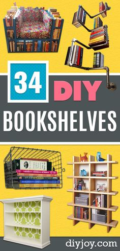 DIY Bookshelf Ideas - DYI Bookshelves and Projects - Easy and Cheap Home Decor Idea for Bedroom, Living Room - Step by Step tutorial Book Shelf Cheap Beach Decor, Cheap Rustic Decor, Inexpensive Home Decor, Cheap Home Decor, Diy Home Decor, Room Decor, Handmade Home Decor, Vintage Home Decor, Home Decor Items
