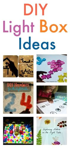 how to make a simple DIY light box, along with a great selection of ideas for different ways to use it for sensory play Play Based Learning, Learning Through Play, Early Learning, Kids Learning, Sensory Activities, Sensory Play, Infant Activities, Activities For Kids, Reggio